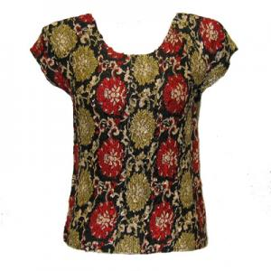 wholesale Overstock and Clearance Tops Magic Crush Satin Cap Sleeve - Medallion Gold-Red - One Size (S-L)