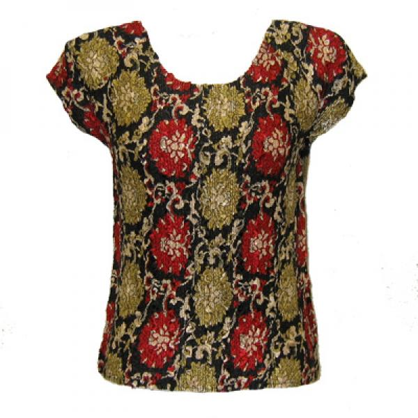 wholesale Overstock and Clearance Tops Magic Crush Satin Cap Sleeve - Medallion Gold-Red - One Size Fits (S-L)
