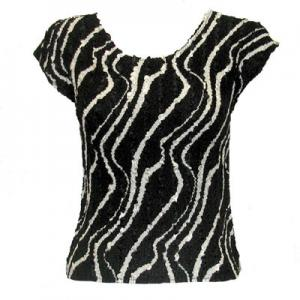 wholesale Overstock and Clearance Tops Magic Crush Satin Cap Sleeve - Ribbon Black-White - One Size (S-L)