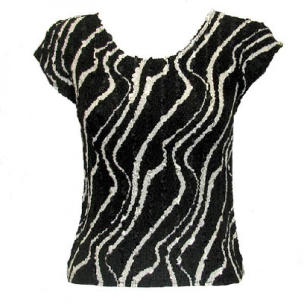 wholesale Overstock and Clearance Tops Magic Crush Satin Cap Sleeve - Ribbon Black-White - One Size Fits (L-XL)