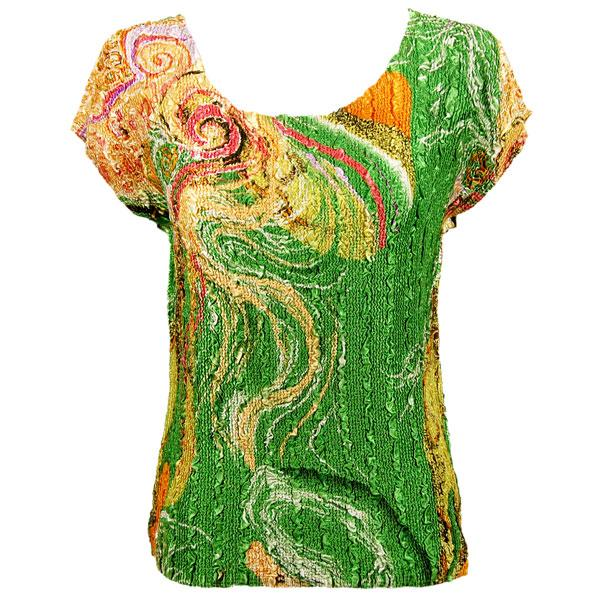 wholesale Overstock and Clearance Tops Magic Crush Satin Cap Sleeve - Swirl Green-Gold - One Size Fits (S-L)