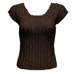 wholesale Overstock and Clearance Tops Magic Crush Satin Cap Sleeve - Solid Dark Brown - One Size (S-L)