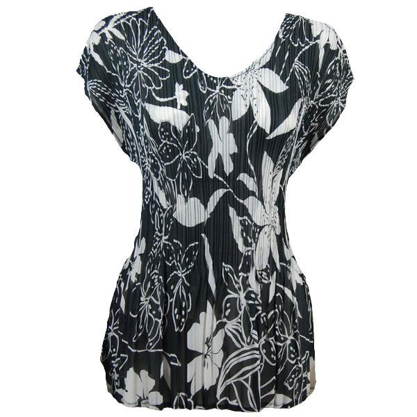 wholesale Overstock and Clearance Tops Georgette Mini Pleats - Cap Sleeve V-Neck- Floral White on Black - S-XL