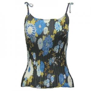 wholesale Overstock and Clearance Tops Georgette Mini Pleats - Spaghetti Tank - Mumms Blue Black - S-L
