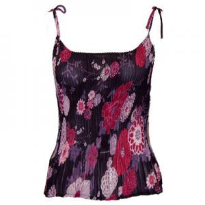 wholesale Overstock and Clearance Tops Georgette Mini Pleats - Spaghetti Tank - Mumms Pink Black - S-L