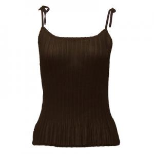wholesale Overstock and Clearance Tops Georgette Mini Pleats - Spaghetti Tank - Dark Brown - S-L
