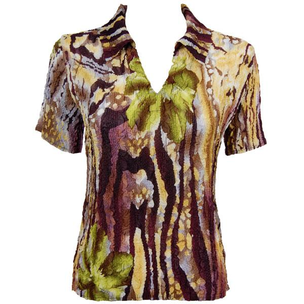 wholesale Overstock and Clearance Tops Magic Crush Georgette Short Sleeve with Collar - Abstract Floral Eggplant-Gold - S-L