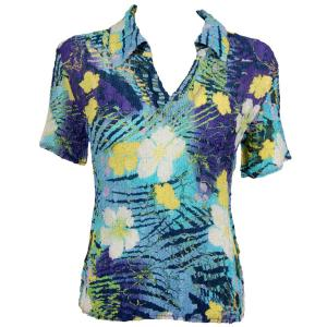 wholesale Overstock and Clearance Tops Magic Crush Georgette Short Sleeve with Collar - Blue-Purple Hawaiian - S-L