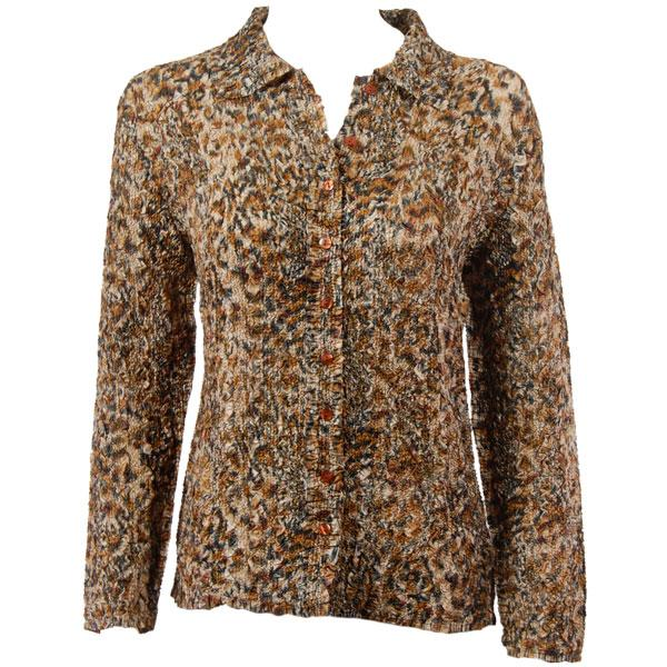 wholesale Overstock and Clearance Tops Ultra Light Crush Silky Touch Blouse - Leopard - One Size Fits  (S-L)