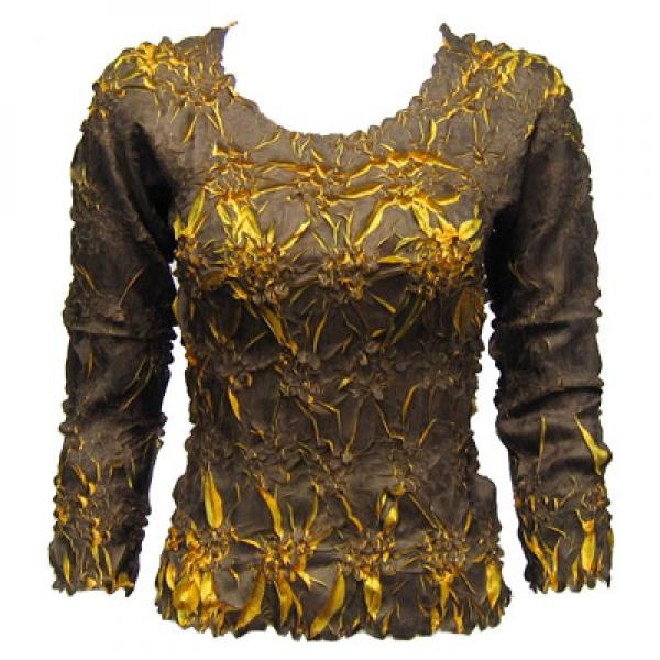 wholesale Overstock and Clearance Tops Origami Three Quarter Sleeve Dark Chocolate-Butterscotch - Queen Size Fits (XL-3X)