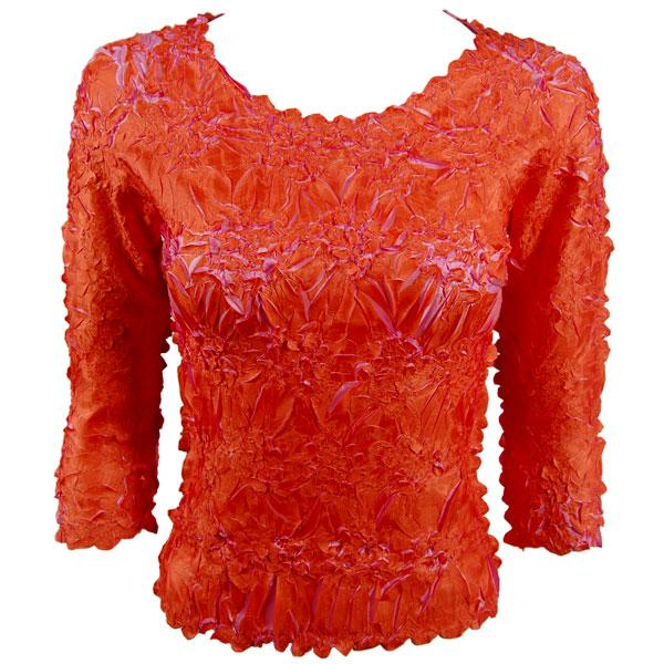 wholesale Overstock and Clearance Tops Origami Three Quarter Sleeve Orange-Flamingo - Queen Size Fits (XL-3X)