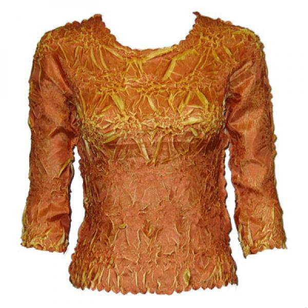 wholesale Overstock and Clearance Tops Origami Three Quarter Sleeve Pumpkin-Gold - Queen Size Fits (XL-3X)