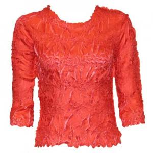 wholesale Overstock and Clearance Tops Origami Three Quarter Sleeve Scarlet-Flamingo - Queen Size Fits (XL-3X)