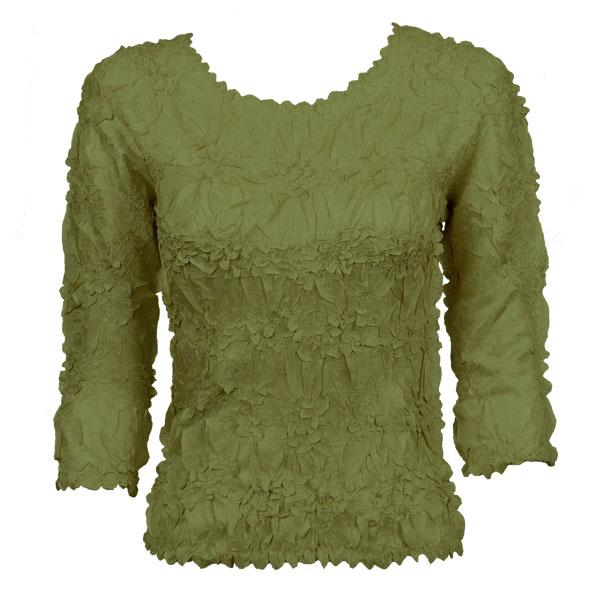 wholesale Overstock and Clearance Tops Origami Three Quarter Sleeve - Solid Olive - Queen Size Fits (XL-3X)