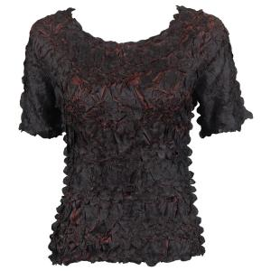 wholesale Overstock and Clearance Tops Origami Short Sleeve Black-Brown - S-XL