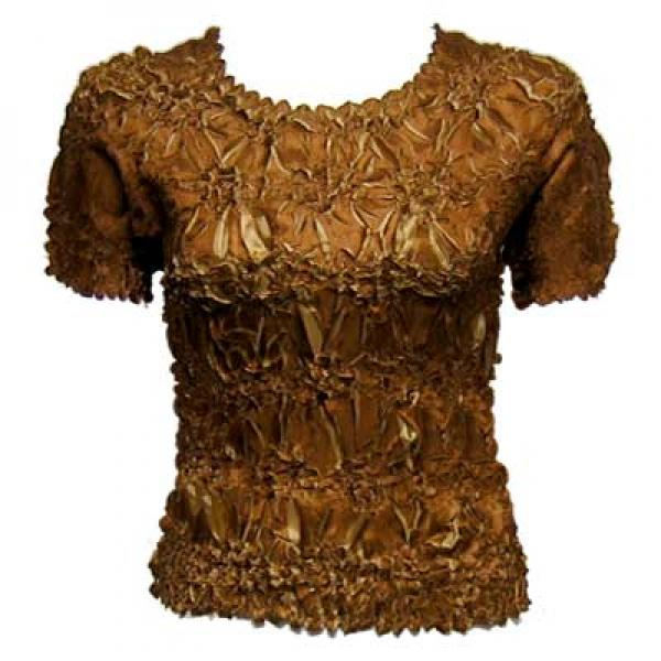 wholesale Overstock and Clearance Tops Origami Short Sleeve Caramel-Taupe - S-XL