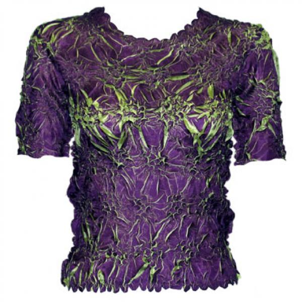wholesale Overstock and Clearance Tops Origami Short Sleeve Plum-Spring Green - S-XL