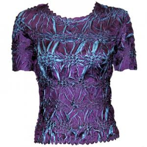 wholesale Overstock and Clearance Tops Origami Short Sleeve Purple-Turquoise - S-XL