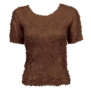 wholesale Overstock and Clearance Tops Origami Short Sleeve Solid Brown - S-XL