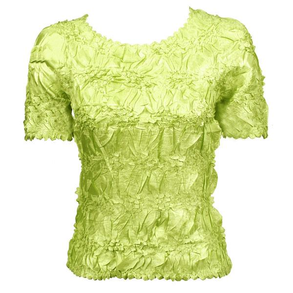 wholesale Overstock and Clearance Tops Origami Short Sleeve Solid Lime - S-XL