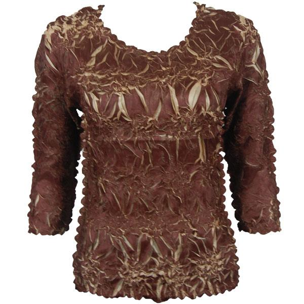 wholesale Overstock and Clearance Tops Origami Three Quarter Sleeve Chocolate Champagne - S-XL