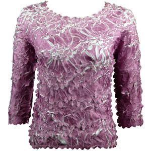 wholesale Overstock and Clearance Tops Origami Three Quarter Sleeve Grape-White - S-XL