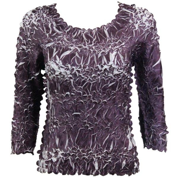 wholesale Overstock and Clearance Tops Origami Three Quarter Sleeve Purple-White - S-XL