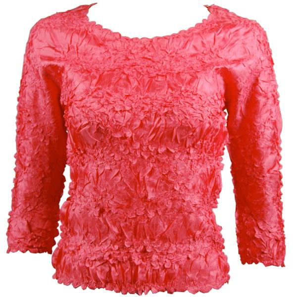 wholesale Overstock and Clearance Tops Origami Three Quarter Sleeve Solid Coral - S-XL