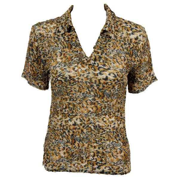 wholesale Overstock and Clearance Tops Magic Crush Georgette - Short Sleeve with Collar Leopard - S-L