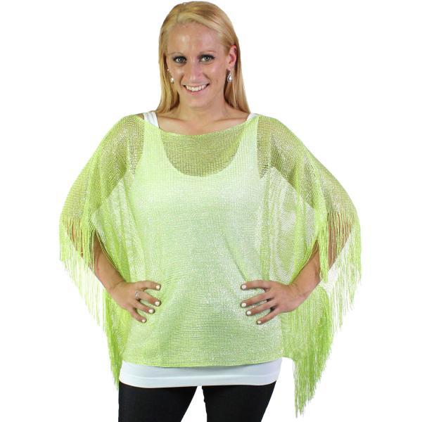 wholesale Overstock and Clearance Tops Poncho - Metallic Mesh X016 Leaf Green - One Size Fits All