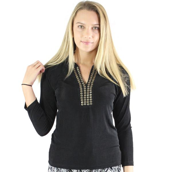 wholesale Overstock and Clearance Tops Slinky Travel Top with Brass Buttons - Black - S-L