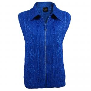 wholesale Overstock and Clearance Tops Diamond Zipper Vests - Royal Sapphire - One Size (S-L)