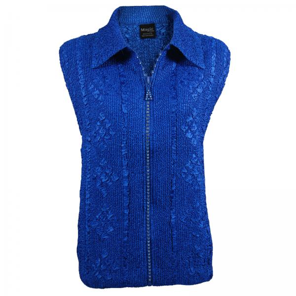 wholesale Overstock and Clearance Tops Diamond Zipper Vests - Royal Sapphire - One Size Fits  (S-L)