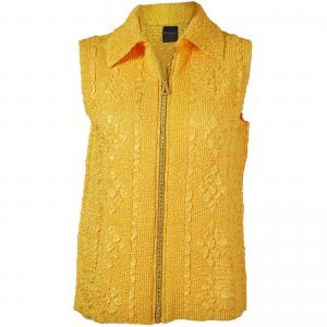 wholesale Overstock and Clearance Tops Diamond Zipper Vests - Yellow - Plus Size Fits (XL-2X)