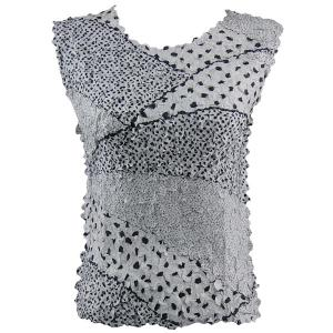 wholesale Overstock and Clearance Tops Petal Sleeveless Multi Dots White-Black - Plus Size (XL-2X)