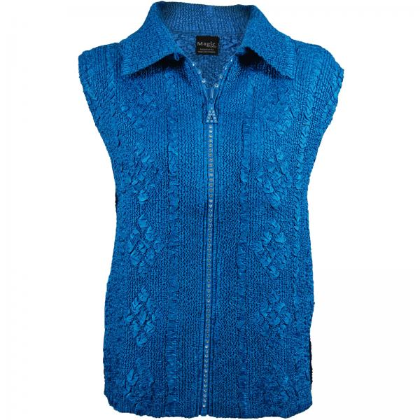 wholesale Overstock and Clearance Tops Diamond Zipper Vests - Blue - S-L