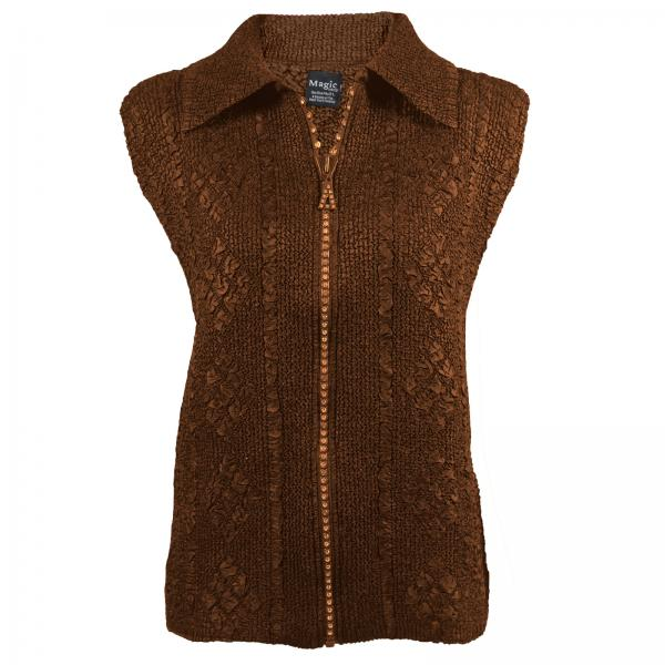 wholesale Overstock and Clearance Tops Diamond Zipper Vest - Dark Brown - S-L