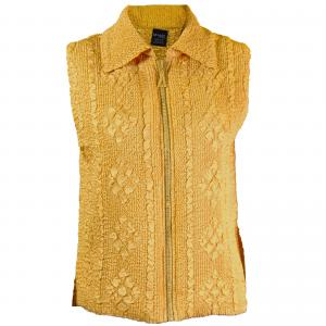 wholesale Overstock and Clearance Tops Diamond Zipper Vest - Gold - S-L
