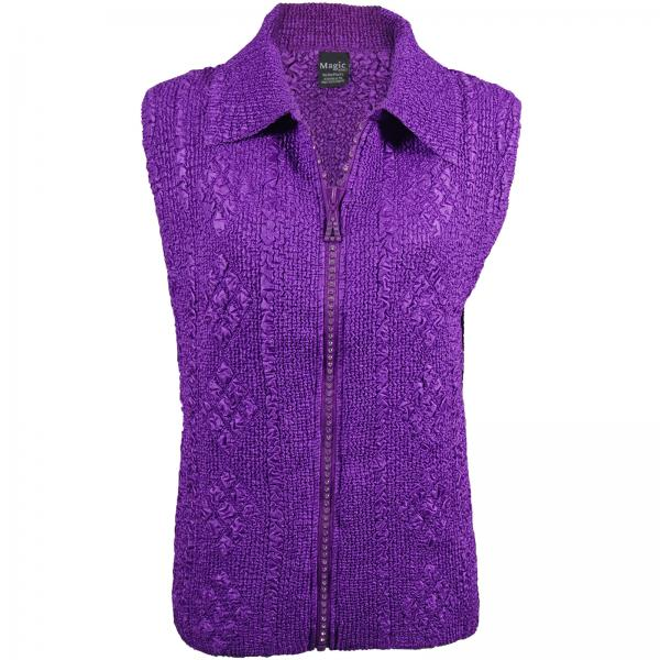 wholesale Overstock and Clearance Tops Diamond Zipper Vest - Purple - S-L