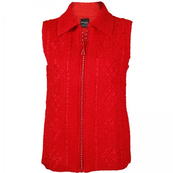 wholesale Overstock and Clearance Tops Diamond Zipper Vest - Red - S-L