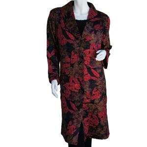 wholesale Satin Crushed Car Coat * Floral - Red-Black-Taupe - S-L