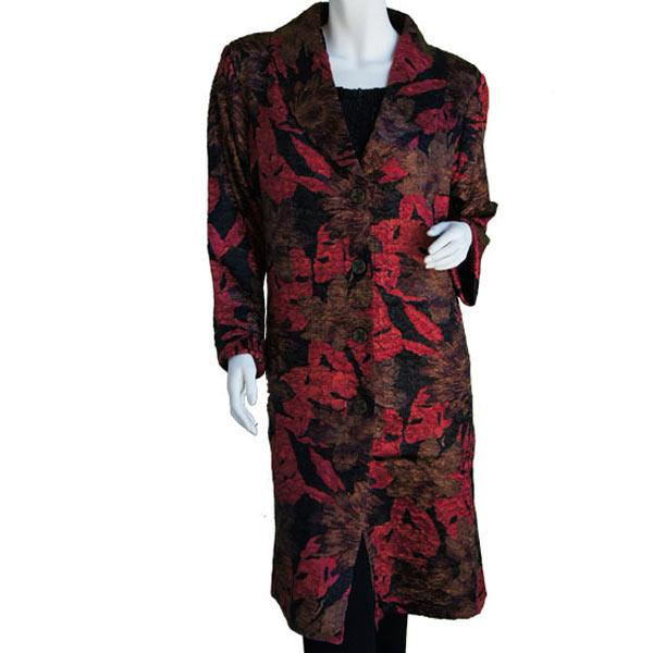 Satin Crushed Car Coat * Floral - Red-Black-Taupe - S-L