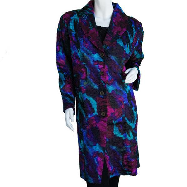 Satin Crushed Car Coat * Abstract - Magenta-Turquoise - S-L