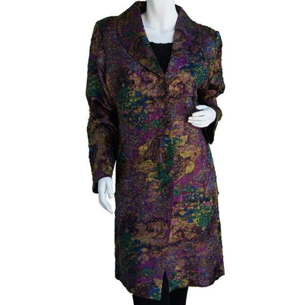 Satin Crushed Car Coat * Abstract - Purple-Gold - S-L