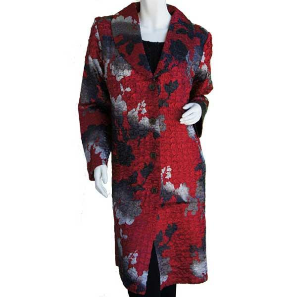 Satin Crushed Car Coat * Abstract - Red-Black -  S