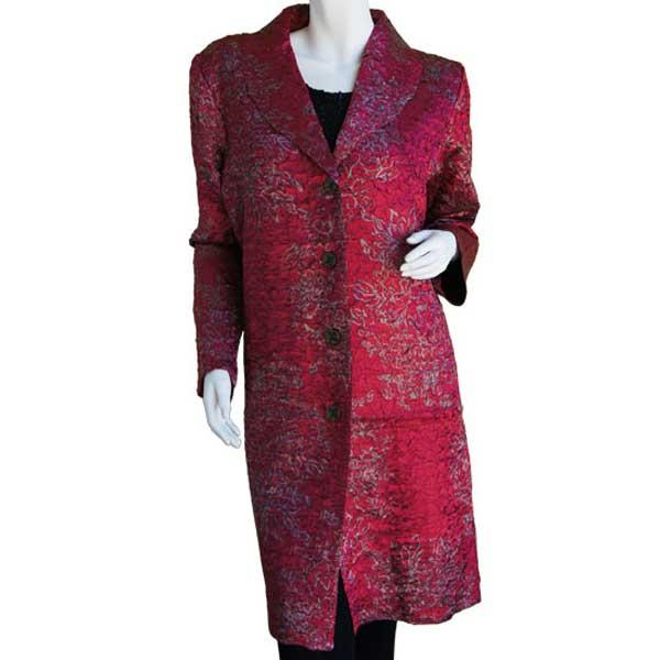 Satin Crushed Car Coat * Stencil Floral - Wine-Silver -  S