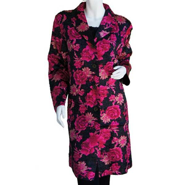 Satin Crushed Car Coat * Roses - Black-Magenta -  S