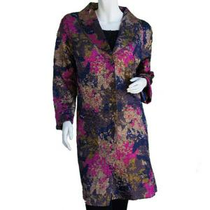 wholesale Satin Crushed Car Coat * Floral - Navy-Magenta-Taupe -  S