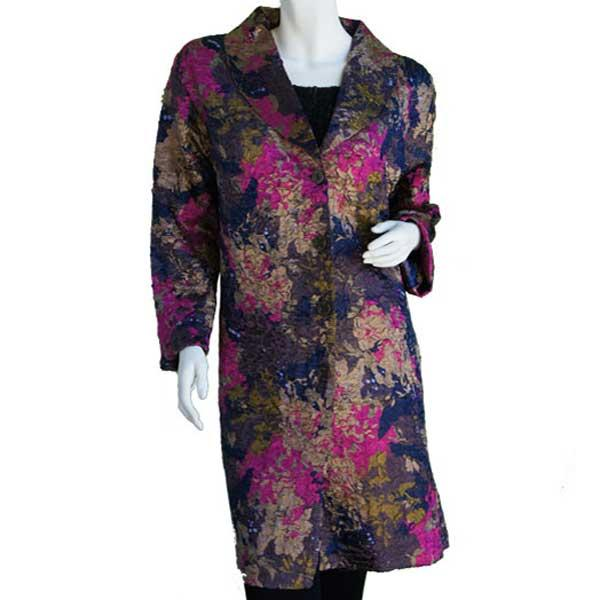 Satin Crushed Car Coat * Floral - Navy-Magenta-Taupe -  S