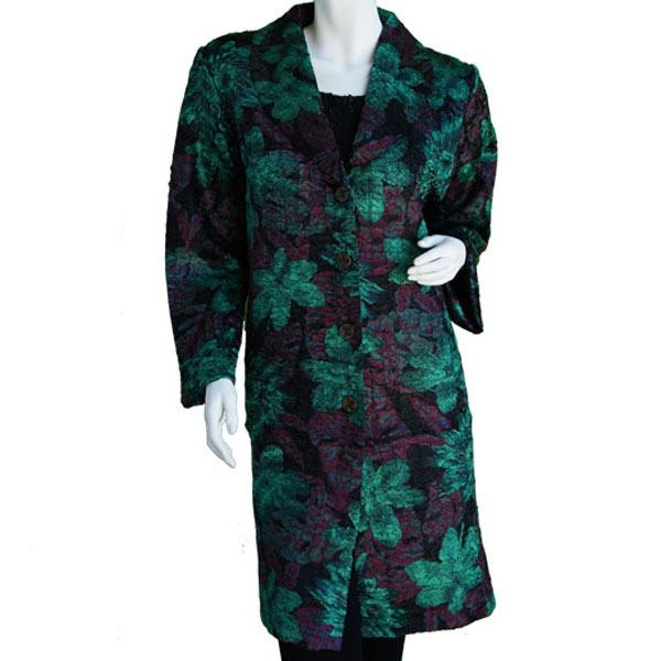 Satin Crushed Car Coat * Floral - Black-Rust-Green - M-L